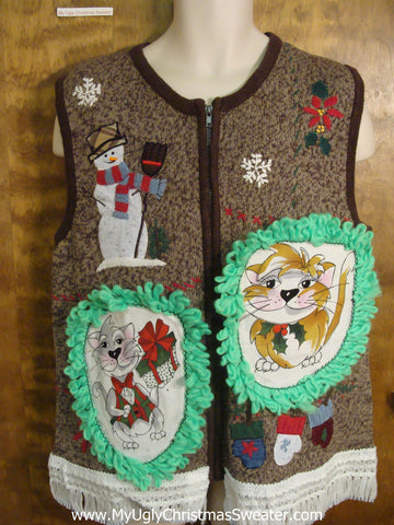 Snowmen with a Broom Christmas Sweater Vest with Cat