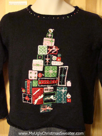 Tacky Cheap Ugly Christmas Sweater with a Pyramid of Gifts (f688)
