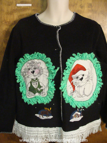 Snowy House Christmas Sweater with Cat