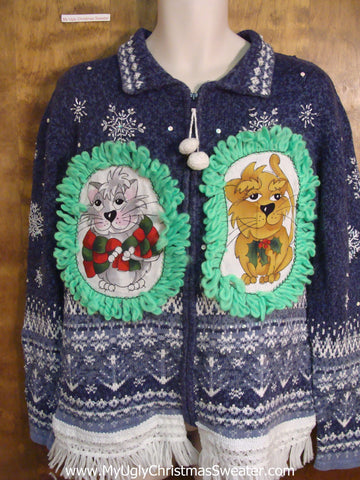 Blue and White Nordic Christmas Sweater with Cat
