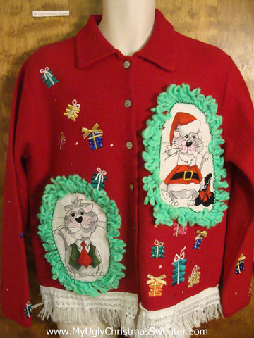 Presents Christmas Sweater with Cat