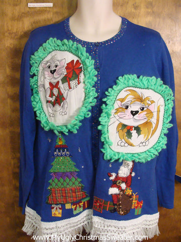 Santa Giving Presents Christmas Sweater with Cat