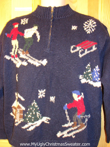 Tacky Cheap Ugly Christmas Sweater with People Skiing Ski Themed (f689)