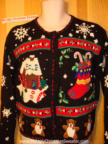 Tacky Ugly Christmas Sweater with Gingerbread House, Bears, Candy Canes, and Snowflakes (f68)