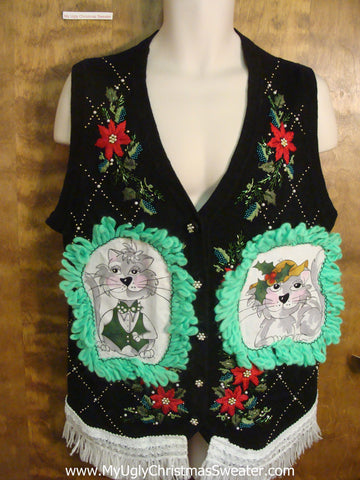 Festive Argyle and Poinsettias Cheesy Cat Christmas Sweater Vest