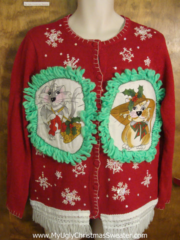 Falling Snowflakes Cheesy Cat Christmas Sweater