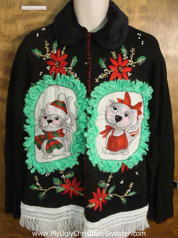 Holiday Poinsettias Cheesy Cat Christmas Sweater