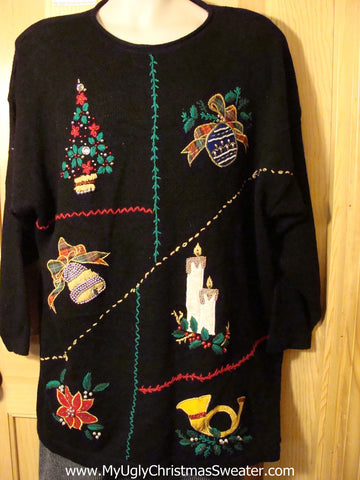 Tacky 80s Bling Ugly Christmas Sweater with Padded Shoulders (f690)