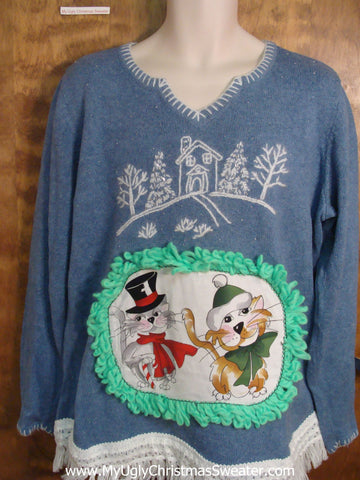 Holiday House Cheesy Cat Christmas Sweater