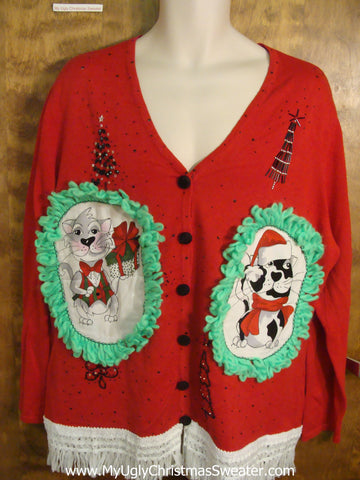 Kittens and Trees Galore Cheesy Cat Christmas Sweater