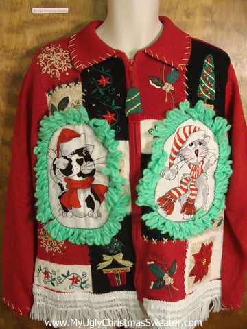 Holiday Patchwork Cheesy Cat Christmas Sweater