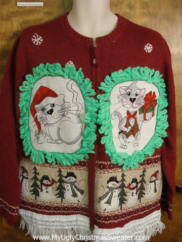 Friendly Snowmen Cheesy Cat Christmas Sweater