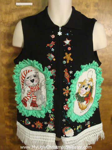 Holiday Specialties Cat Christmas Sweater Vest