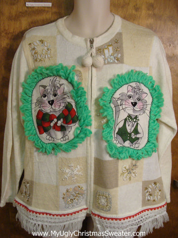 White and Ivory Patchwork Cat Christmas Sweater