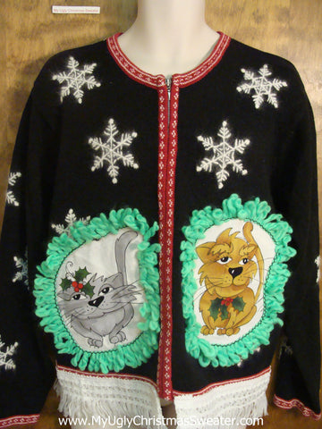 Big White Snowflakes Cat Christmas Sweater