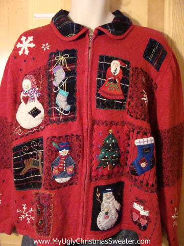 Tacky Cheap Ugly Christmas Sweater with Plaid Collar and Mitton on Back (f692)