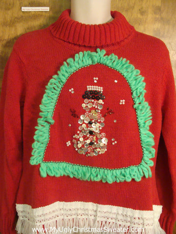 Bling Snowman and Snowflakes Christmas Sweater