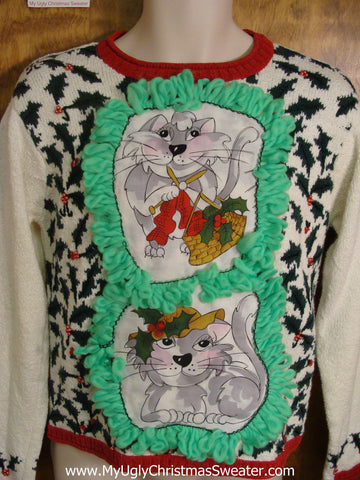 Holly All Over Cat Christmas Sweater