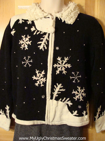 Tacky Fantastic Ugly Christmas Sweater with Snowflakes and Pom Pom Zipper Pull (f693)