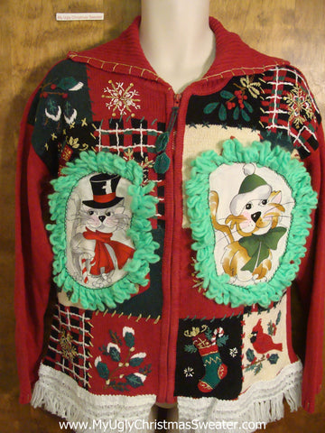 Festive Patchwork Cat Christmas Sweater
