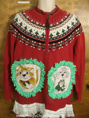 Red Nordic Cat Christmas Sweater