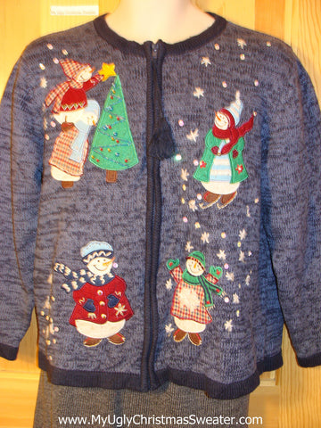 Tacky Cheap Ugly Christmas Sweater with Festive Snowmen (f694)