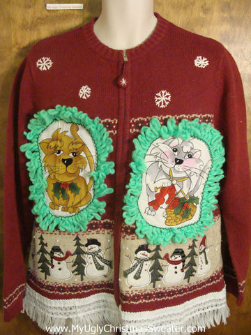 Dancing Snowmen Cat Christmas Sweater