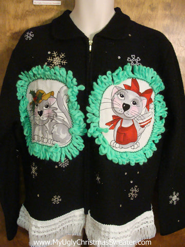 Delicate Snowflakes Cat Christmas Sweater