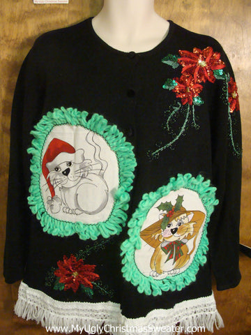 Glittery Poinsettias Cat Christmas Sweater