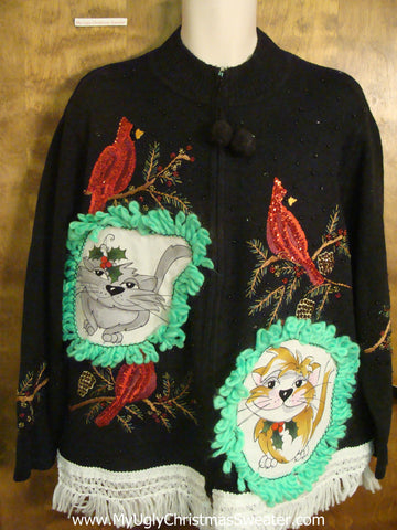 Rocking Robins Cat Christmas Sweater