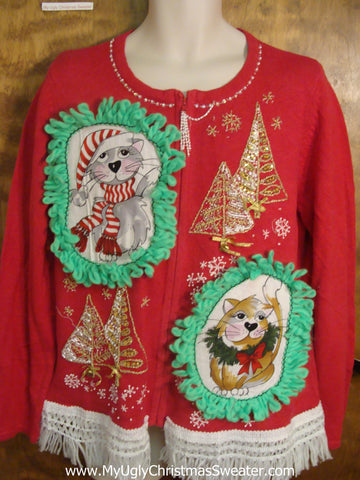 Gold Trees Cat Christmas Sweater