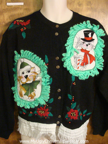 Red and Green Poinsettias Cat Christmas Sweater