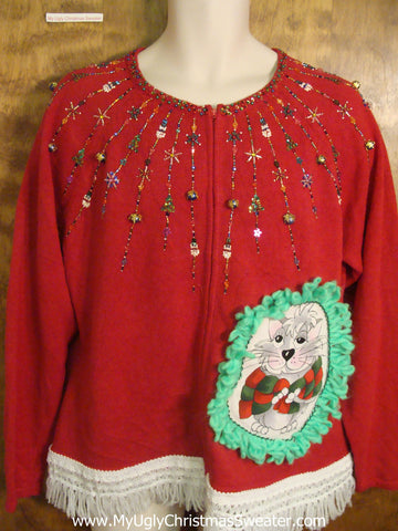Glittery 2sided Cat Christmas Sweater