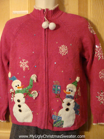 Tacky Cheap Ugly Pink Christmas Sweater with Festive Carrot Nosed Snowmen (f695)