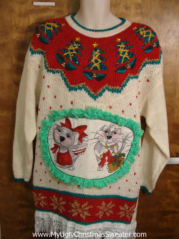 Amazing 80s Cat Christmas Sweater