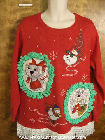 Slipping and Sliding Snowmen Cat Christmas Sweater