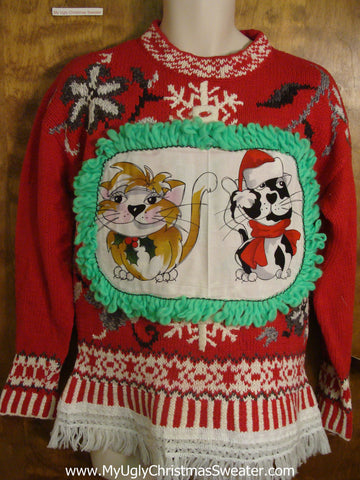 Crazy Snowflake Pattern Cat Christmas Sweater