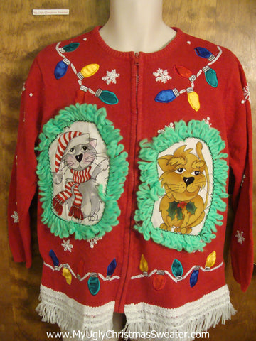 Decorative Lights Cat Christmas Sweater