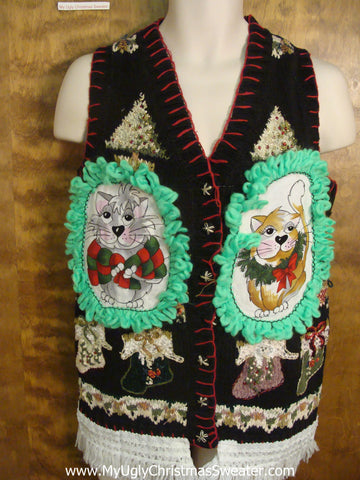 Decorative Trees and Stockings Cat Christmas Sweater Vest