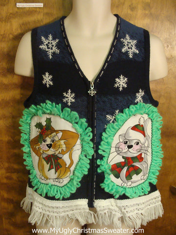 Black and Blue Striped Cat Christmas Sweater Vest