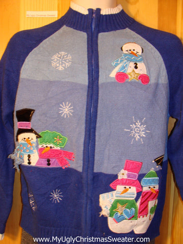 Tacky Cheap Ugly Christmas Sweater with Festive Colorful Snowmen (f696)