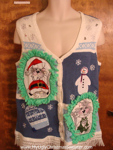 Cold Weather Cat Christmas Sweater Vest