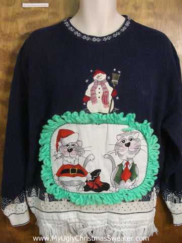 Snowman with a Broom Cat Christmas Sweater