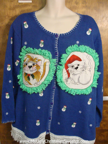 Tiny Little Snowmen Cat Christmas Sweater