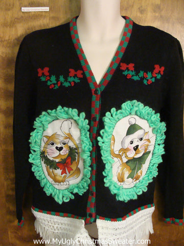 Holly Garlands Cat Christmas Sweater
