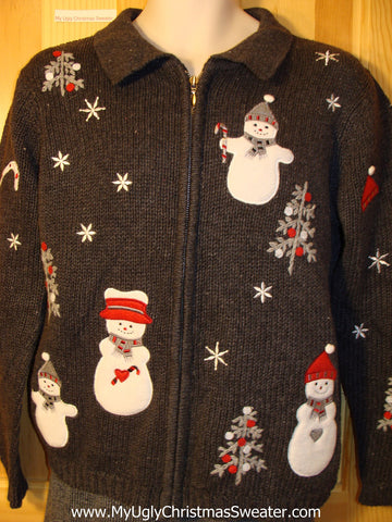 Tacky Cheap Ugly Christmas Sweater with a Nighttime Winter Wonderland of Snow and Snowmen (f697)