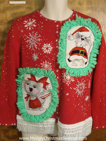Diagonal Snowflakes Cat Christmas Sweater