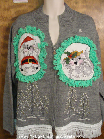 Gray Forest Cat Christmas Sweater