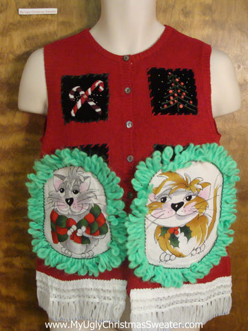 Candy Canes and Berries Cat Christmas Sweater Vest