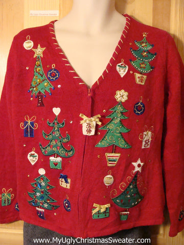 Tacky Cheap Ugly Christmas Sweater with Bling Filled Christmas Trees (f698)